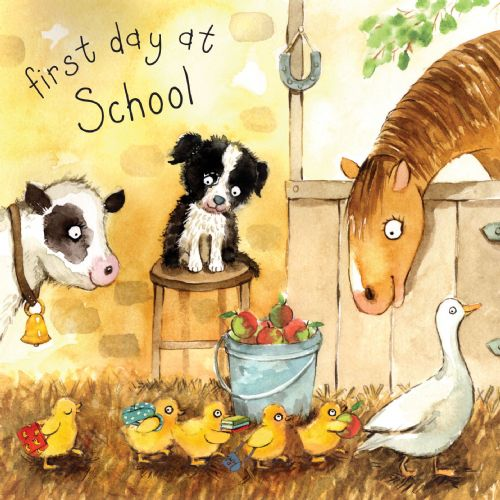 FIZ15 - First Day At School Card Ducklings